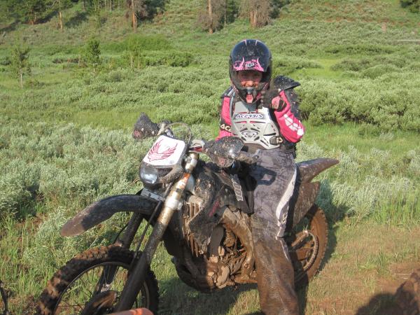 Jill riding motorcycle
